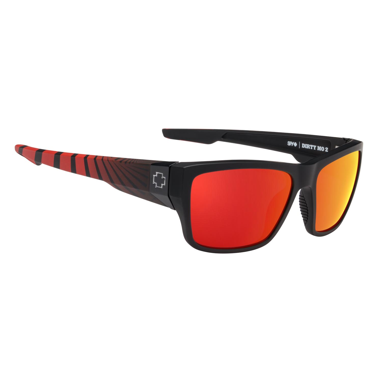Spy Sunglasses Dirty Mo 2 in matte black red burst with red spectra polarized lenses
